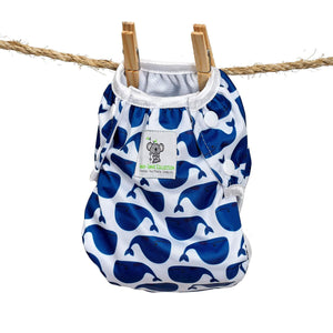 Large Swim Diapers & Wet Bag Combo - Blue Whale & Octopus (up to 40lbs)