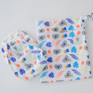 Reusable Swim Diaper & Waterproof Wet Bag- Blue Koala
