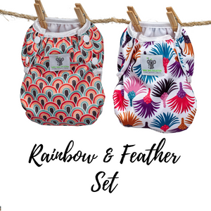 Reusable Swim Diaper Bundle- Set of 2 - Rainbow & Feather