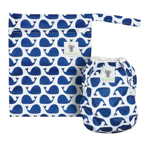 Reusable Swim Diaper & Waterproof Wet Bag- Blue Whale