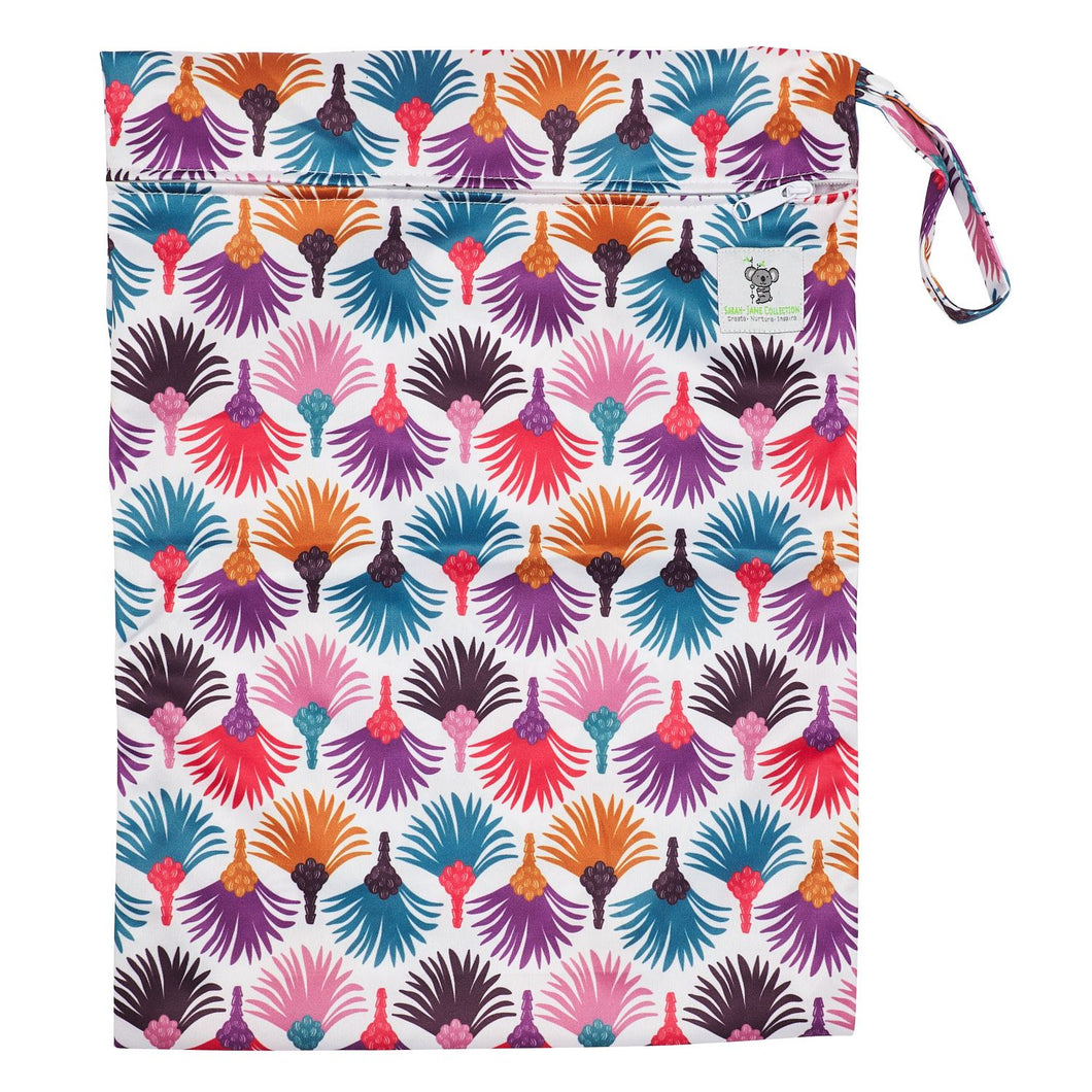 Waterproof Zip Wet Bag (Large) - Carnival Feather - 40x30cm