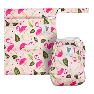 Reusable Swim Diaper & Waterproof Wet Bag- Pink Flamingo
