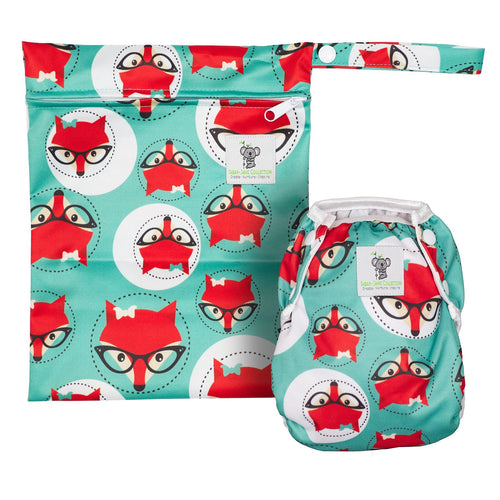 Reusable Swim Diaper & Waterproof Wet Bag- Fox