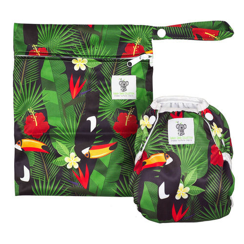 Reusable Swim Diaper & Waterproof Wet Bag- Toucan Jungle
