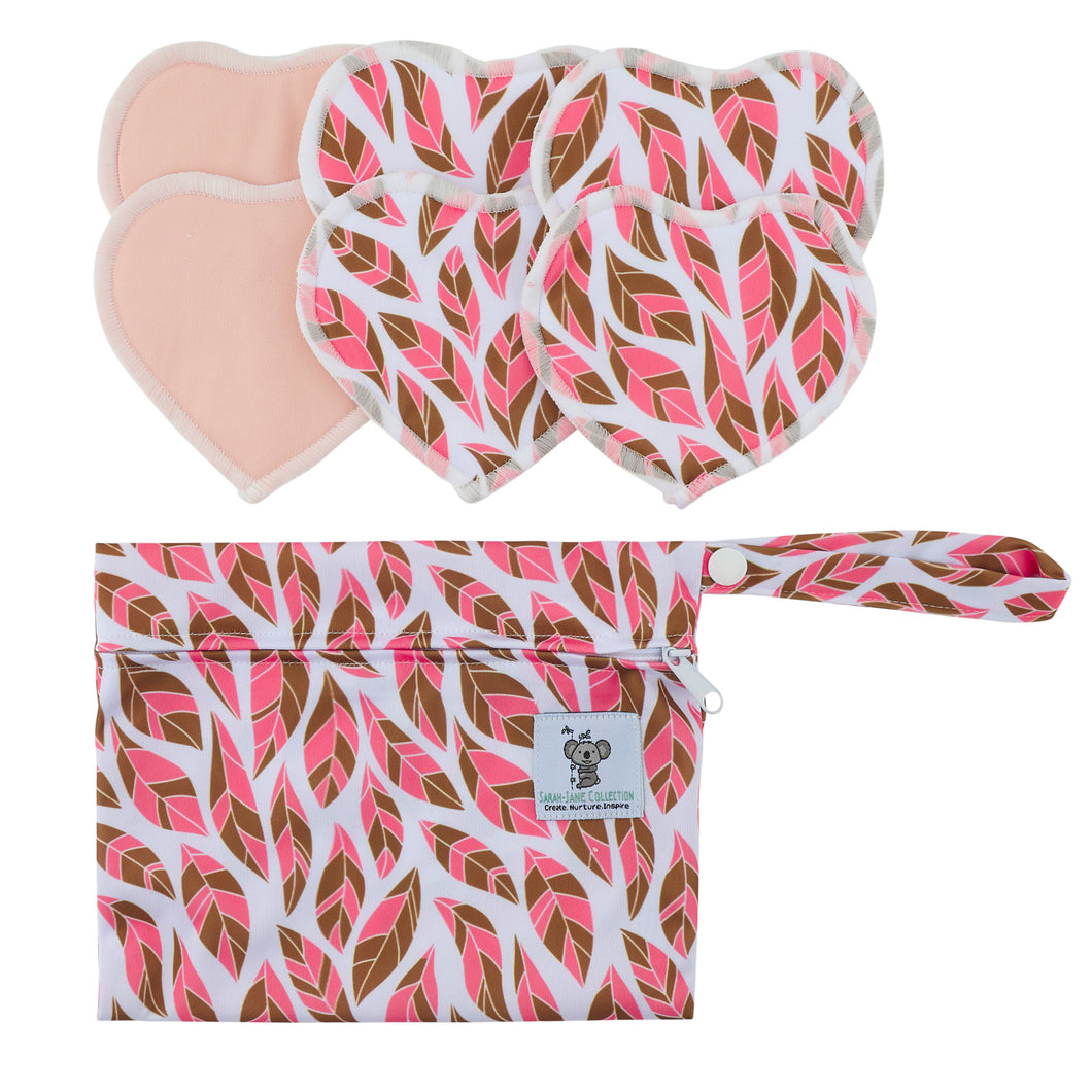 Nursing Pads & Wet Bag- Set of 6- Heart- Feather