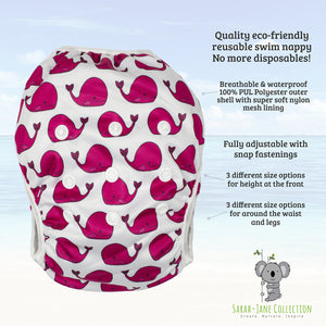 Reusable Swim Diaper & Waterproof Wet Bag- Fuschia Pink Whale