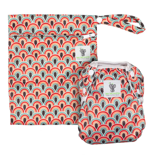 Reusable Swim Diaper & Waterproof Wet Bag- Boho Rainbow
