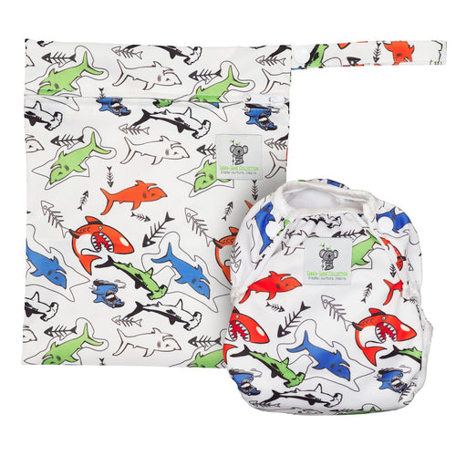 Reusable Swim Diaper & Waterproof Wet Bag- Shark