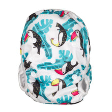Load image into Gallery viewer, Reusable Swim Diaper & Waterproof Wet Bag- Toucan Aqua