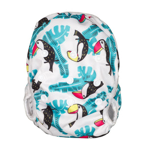 Reusable Swim Diaper & Waterproof Wet Bag- Toucan Aqua