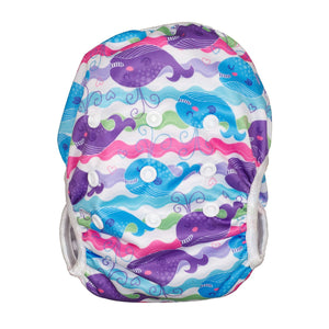Reusable Swim Diaper & Waterproof Wet Bag- Purple Whale