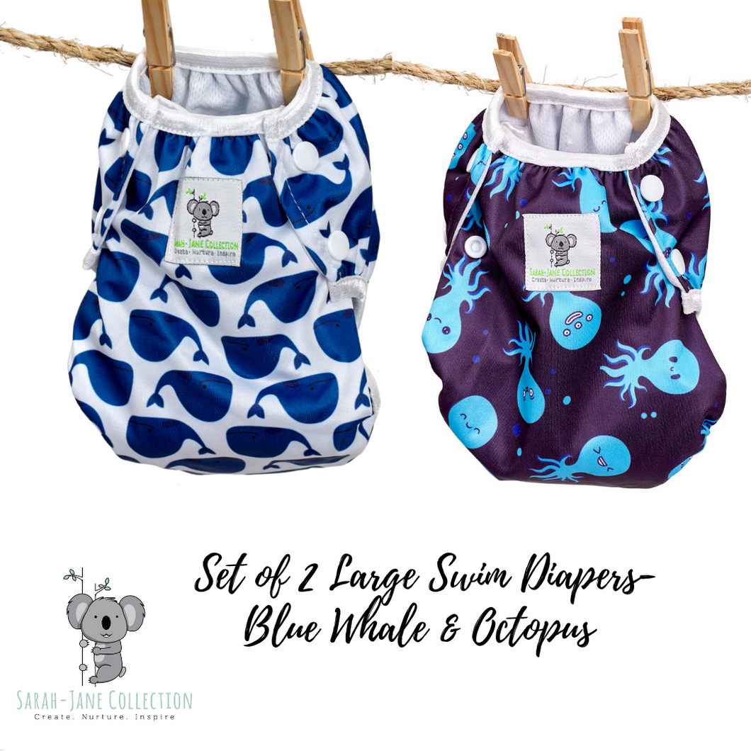 Set of 2 LARGE Reusable Swim Diapers (up to 40lbs)- Blue Whale & Octopus
