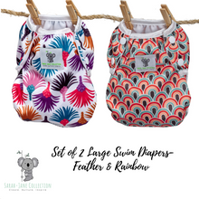 Load image into Gallery viewer, Set of 2 LARGE Reusable Swim Diapers (up to 40lbs)- Feather & Rainbow