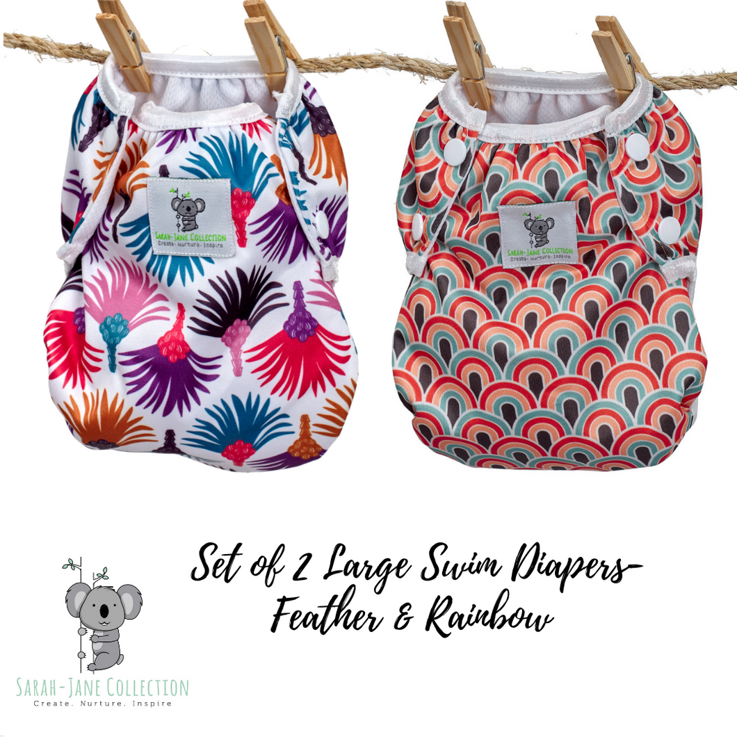 Set of 2 LARGE Reusable Swim Diapers (up to 40lbs)- Feather & Rainbow