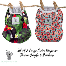 Load image into Gallery viewer, Set of 2 LARGE Reusable Swim Diapers (up to 40lbs)- Toucan Jungle & Rainbow