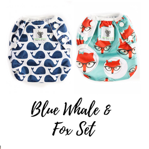 Reusable Swim Diaper Bundle - Set of 2 - Blue Whale & Fox