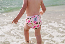 Load image into Gallery viewer, Set of 2 LARGE Reusable Swim Diapers (up to 40lbs)- Flamingo & Feather