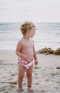 Set of 2 LARGE Reusable Swim Diapers (up to 40lbs)- Flamingo & Feather
