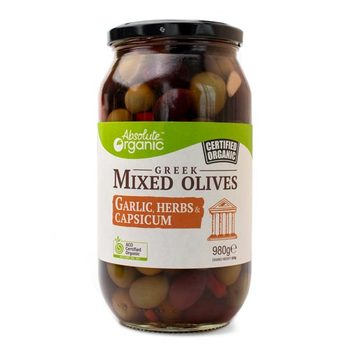 Absolute Organic Greek Mixed Olives 300g Or 980g, With Garlic, Herbs & Capsicum ACO