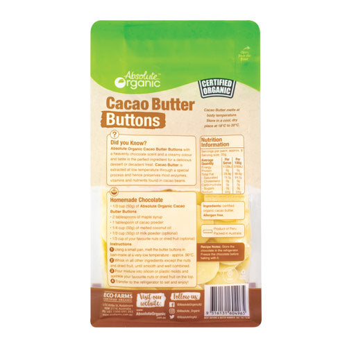 Absolute Organic Cacao Butter Buttons 250g ACO