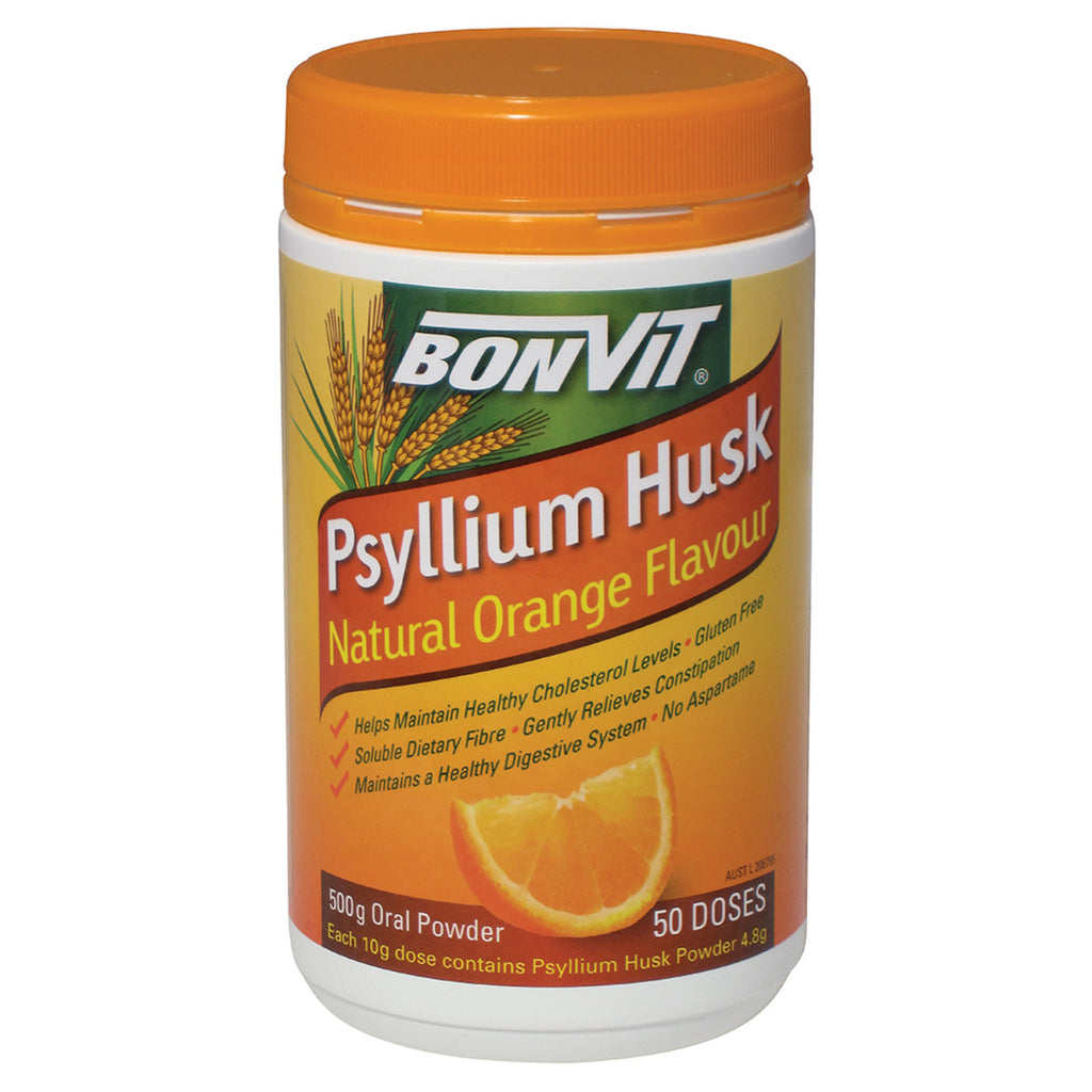 Bonvit Psyllium Husk 500g, Natural Orange Flavour 50 Doses