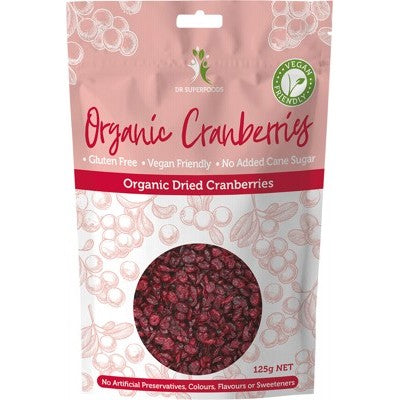 Dr Superfoods Dried Cranberries Organic 125g