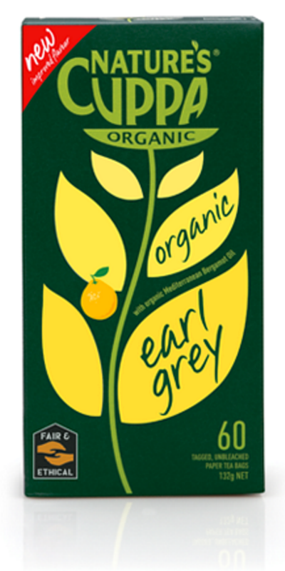 Nature's Cuppa Earl Grey 25 Teabags Or 60 Teabags, Certified Organic