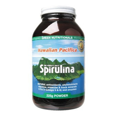 Green Nutritionals Hawaiian Pacifica Spirulina Powder Various Quantities, Amber Bottle