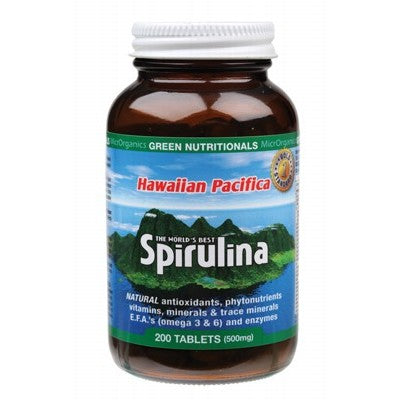 Green Nutritionals Hawaiian Pacifica Spirulina (500mg) Tablets Various Quantities, Amber Bottle