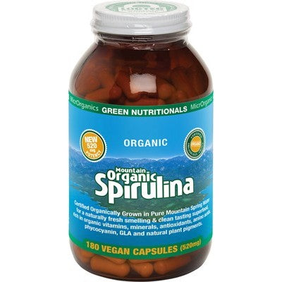 Green Nutritionals Mountain Organic Spirulina (520mg) Vegan Capsules Various Quantities