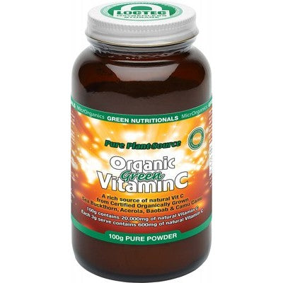 Green Nutritionals Organic Green Vitamin C Powder (600mg) 100g