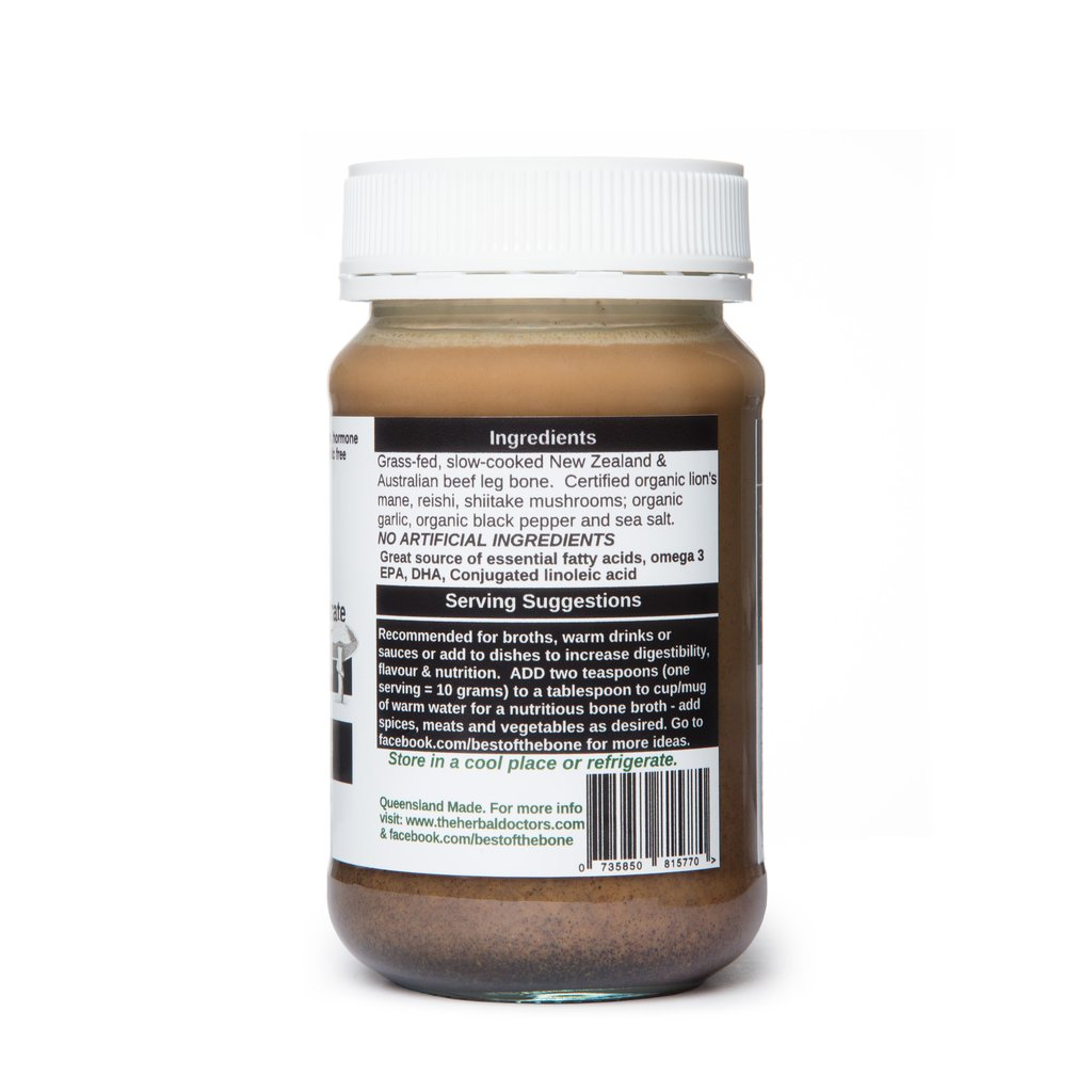 Best Of The Bone Grass-Fed Certified Beef Bone Broth Concentrate 350g Organic Healing Mushroom Reishi, Lion's Maine, & Shiitake