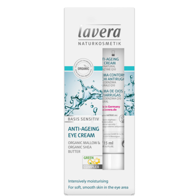Lavera Anti Ageing Eye Cream Q10  15ml, Basis Sensitiv With Organic Mallow & Organic Shea Butter