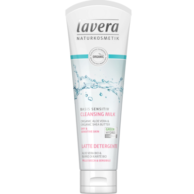 Lavera Cleansing Milk 125ml, Basis Sensitiv With Organic Aloe Vera & Organic Shea Butter (Dry & Sensitive Skin)