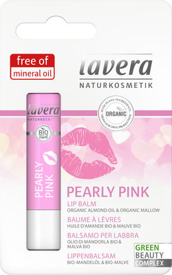 Lavera Lip Balm 4.5g, Pearly Pink With Organic Almond Oil & Organic Mallow