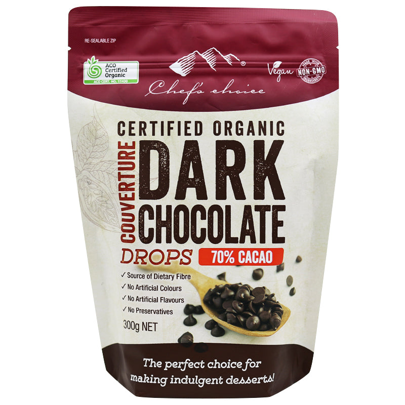 Chef's Choice Dark Chocolate Couverture Drops, 70% Cacao 300g, Certified Organic
