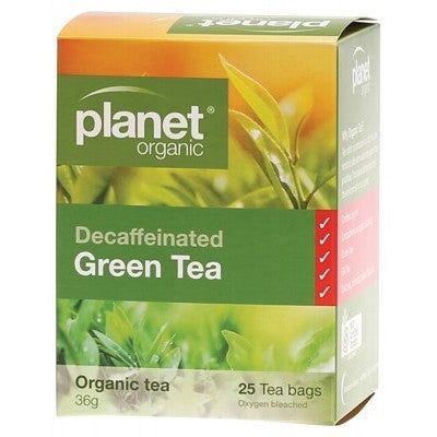 Planet Organic Decaffeinated Green Tea 25 Herbal Tea Bags Caffeine Free