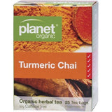 Planet Organic Turmeric Chai 25 Herbal Tea Bags  Caffeine Fre
