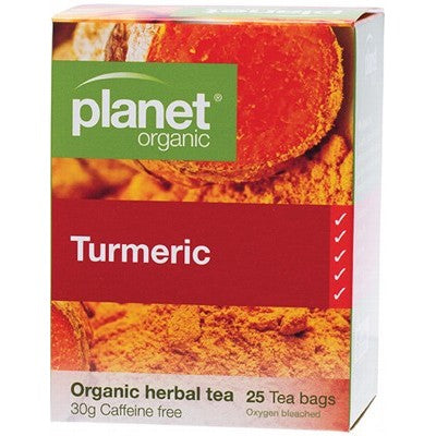 Planet Organic Turmeric 25 Herbal Tea Bags  Caffeine Fre