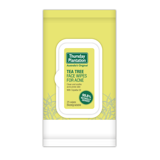 Thursday Plantation Face Wipes For Acne 25 Wipes, Biodegradable