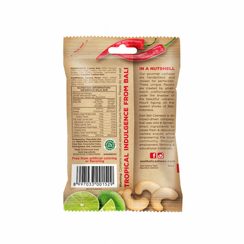 East Bali Cashews Wild Harvested Cashews, 35g Single Or 10 x 35g Box, Chili Lime Flavour