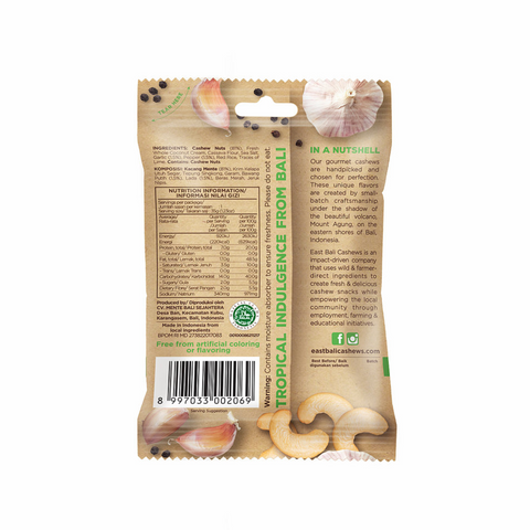 East Bali Cashews Wild Harvested Cashews, 35g Single Or 10 x 35g Box, Garlic Pepper Flavour