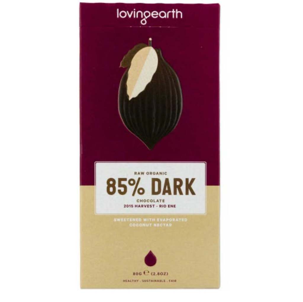 Loving Earth Chocolate 80g, Dark Chocolate 85% Flavour