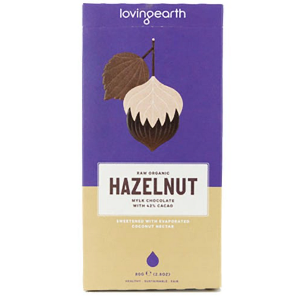 Loving Earth Chocolate 80g Or 30g, Hazelnut Mylk Chocolate Flavour