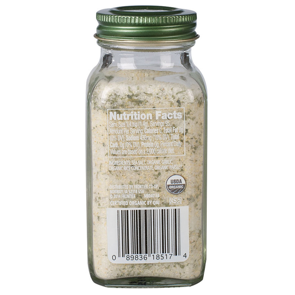Simply Organic Garlic Salt 133g, (Glass Jar)