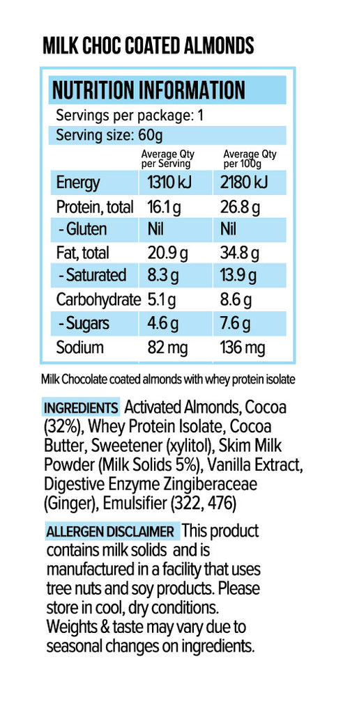 Vitawerx Protein Milk Chocolate Coated Almonds 60g or Box of 10