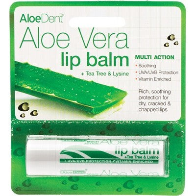 Aloe Dent Lip Balm, 4g Aloe Vera With Tea Tree & Lysine