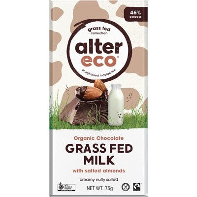 Alter Eco Grass Fed Milk Chocolate 75g, With Salted Almonds Flavour 46% Cacao, Certified Organic