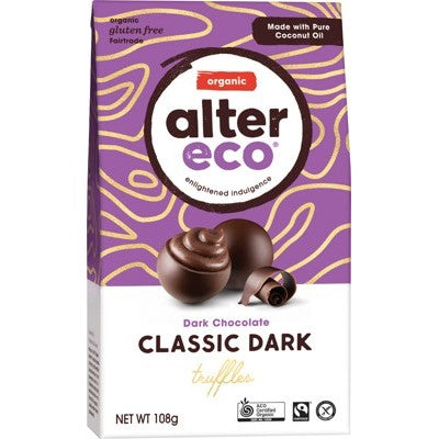 Alter Eco Cacao Truffles 108g, Classic Dark Flavour 58% Cacao, Certified Organic
