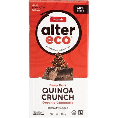 Alter Eco Chocolate 80g, Dark Quinoa Crunch Flavour 60% Cacao, Certified Organic